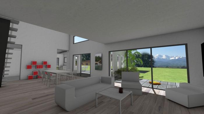 Architectes maison contemporaine tuiles for Photo maison avec terrasse couverte