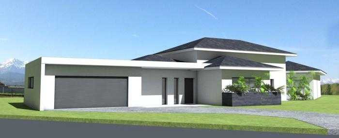 Maison contemporaine tuiles noires et terrasse couverte for Villa avec terrasse couverte