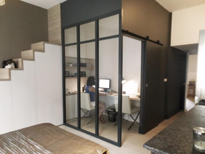 cr ation d 39 un bureau et d 39 une salle d 39 eau dans une chambre toulouse une r alisation de. Black Bedroom Furniture Sets. Home Design Ideas
