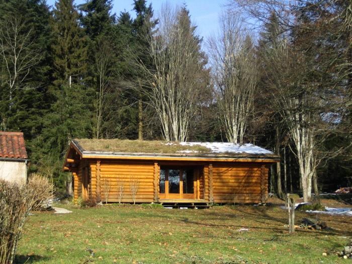 Maison à ossature bois et toiture végétalisée