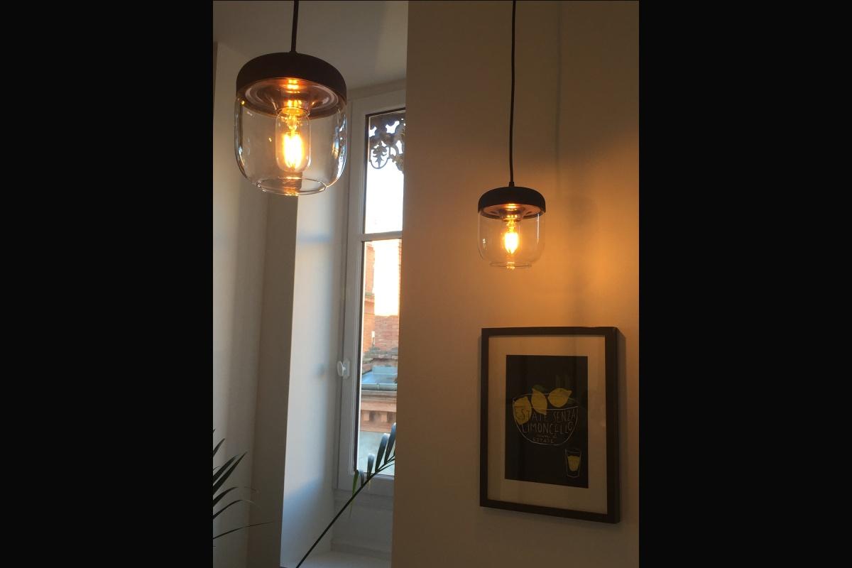Rénovation d'un appartement 19ème et création d'un duplex : suspension cuisine