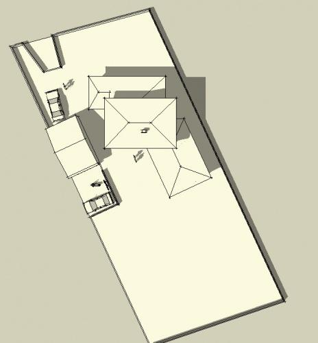 Maison bioclimatique L (65) : volumétrie haute de la parcelle