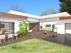 Construction d'une maison contemporaine à toit terrasse et parement Acier Corten