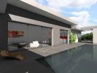 Maison contemporaine en C à toit terrasse végétalisé