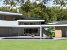 Maison contemporaine à tuiles noires et casquettes béton
