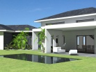 Maison contemporaine à tuiles noires et terrasse couverte