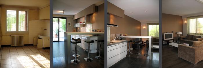 Architectes r novation d 39 une maison et for Ouverture salon cuisine